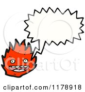 Cartoon Of Flames With A Conversation Bubble Royalty Free Vector Illustration