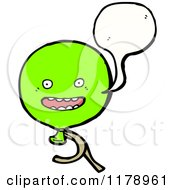 Cartoon Of A Green Balloon With A Conversation Bubble Royalty Free Vector Illustration by lineartestpilot