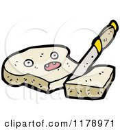 Cartoon Of A Slice Of Bread Cut By A Knife Royalty Free Vector Illustration by lineartestpilot