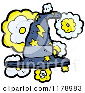Cartoon Of A Witchs Hat With Stars And Lightning Bolts Royalty Free Vector Illustration