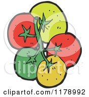 Cartoon Of A Bunch Of Tomatoes Royalty Free Vector Illustration by lineartestpilot