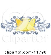 Ornate Blue Branches And Golden Shield Clipart Illustration