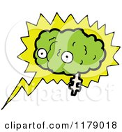 Cartoon Of A Green Brain In A Conversation Bubble Royalty Free Vector Illustration