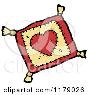 Cartoon Of A Heart Pillow With Tassels Royalty Free Vector Illustration