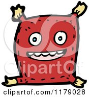 Cartoon Of A Smiling Pillow With Tassels Royalty Free Vector Illustration