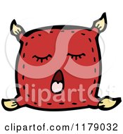 Cartoon Of A Yawning Pillow With Tassels Royalty Free Vector Illustration