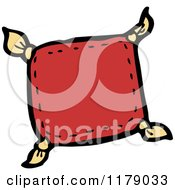 Cartoon Of A Pillow With Tassels Royalty Free Vector Illustration