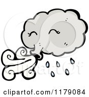 Cartoon Of A Storm Cloud Blowing Royalty Free Vector Illustration by lineartestpilot