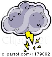 Cartoon Of A Cloud With Lightning Bolt Royalty Free Vector Illustration by lineartestpilot