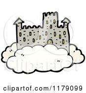 Cartoon Of A Castle In A Cloud Royalty Free Vector Illustration