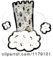 Cartoon Of A Castle Tower In A Cloud Royalty Free Vector Illustration