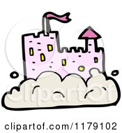 Cartoon Of A Pink Castle In A Cloud Royalty Free Vector Illustration