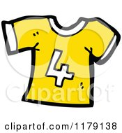 Cartoon Of A T Shirt With The Number 4 Royalty Free Vector Illustration