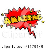 Cartoon Of A Conversation Bubble With The Word AMAZING Royalty Free Vector Illustration