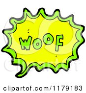 Cartoon Of A Conversation Bubble With The Word WOOF Royalty Free Vector Illustration by lineartestpilot