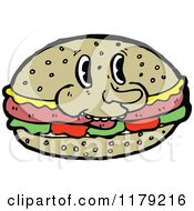 Cartoon Of A Sandwich On A Bun Royalty Free Vector Illustration by lineartestpilot