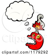 Cartoon Of A Red Bomb With A Conversation Bubble Royalty Free Vector Illustration