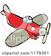Cartoon Of A Prop Plane Royalty Free Vector Illustration by lineartestpilot