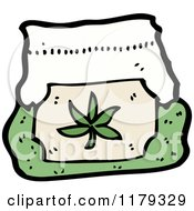 Cartoon Of A Bag With A Marijuana Leaf Royalty Free Vector Illustration