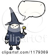 Cartoon Of A Child Dressed Up In A Witch Costume With A Conversation Bubble Royalty Free Vector Illustration by lineartestpilot