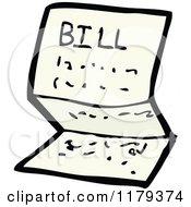 Cartoon Of A Bill In An Envelope Royalty Free Vector Illustration