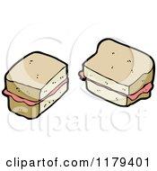 Cartoon Of A Sandwich Royalty Free Vector Illustration