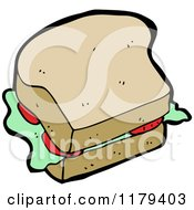 Cartoon Of A Sandwich Royalty Free Vector Illustration by lineartestpilot