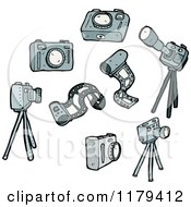 Cartoon Of Camera Film And Tripods Royalty Free Vector Illustration by lineartestpilot