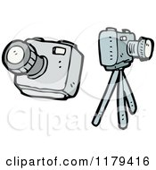 Cartoon Of Cameras And A Tripod Royalty Free Vector Illustration by lineartestpilot