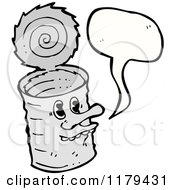 Cartoon Of A Tin Can With A Conversation Bubble Royalty Free Vector Illustration