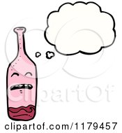 Cartoon Of A Bottle Of Alcohol With A Conversation Bubble Royalty Free Vector Illustration