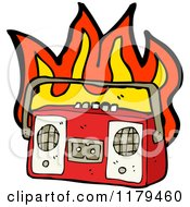 Cartoon Of A Flaming Cassette Player Royalty Free Vector Illustration