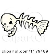 Cartoon Of A Fish Skeleton With A Skull Head Royalty Free Vector Illustration by lineartestpilot