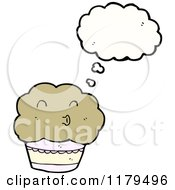 Cartoon Of A Muffin Thinking Royalty Free Vector Illustration by lineartestpilot
