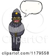 Cartoon Of An African American Policeman Speaking Royalty Free Vector Illustration by lineartestpilot