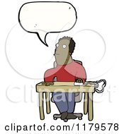 Cartoon Of An African American Man At Computer Desk Speaking Royalty Free Vector Illustration