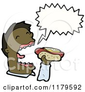 Cartoon Of An African American Man Eating A Hotdog And Speaking Royalty Free Vector Illustration