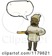 Cartoon Of An African American Man With A Rifle Speaking Royalty Free Vector Illustration by lineartestpilot