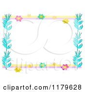 Flower And Blue Leaf Border Frame