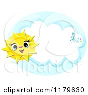 Cartoon Of A Cheerful Sun And Dragonfly Over A Cloud Frame Royalty Free Vector Clipart