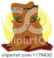 Cartoon Of A Tree Man Ent Over A Yellow Circle Royalty Free Vector Clipart by bpearth