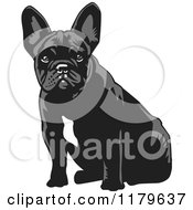 Cartoon Of A Sitting Black And White French Bulldog Royalty Free Vector Clipart