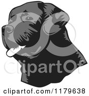 Cartoon Of A Panting Black Lab Dog Face Royalty Free Vector Clipart