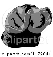 Cartoon Of A Black Lab Dog Face Tilted Up Royalty Free Vector Clipart