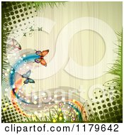 Clipart Of A Spring Time Butterfly Halftone And Grass Wood Background Royalty Free Vector Illustration