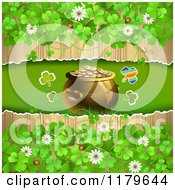Clipart Of A Torn Wood Background With Clovers Flowers Around A Leprechauns Pot Of Gold Royalty Free Vector Illustration