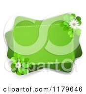 Clipart Of A Green Rectangles With Clover Flowers And Shamrocks On White Royalty Free Vector Illustration by merlinul