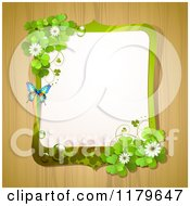 Clipart Of A Butterfly Shamrock And Clover Flower Frame Over Wood Royalty Free Vector Illustration