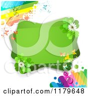 Clipart Of A Green Rectangles With Butterflies Clover Flowers And Dewy Rainbows Royalty Free Vector Illustration
