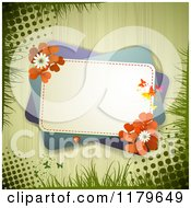 Clipart Of A Green Rectangles With Butterflies A Ladybug Clover Flowers And Red Shamrocks Over Wood With Grass And Grunge Royalty Free Vector Illustration
